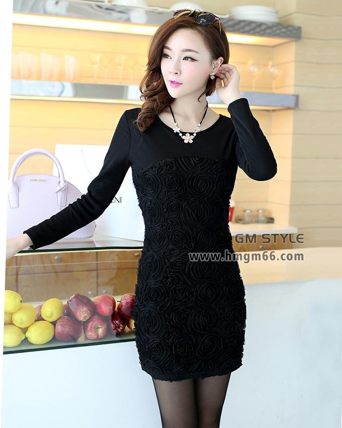 2014冬季新款女装韩版修身加厚中长款打底裙批发