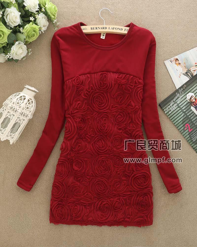 冬季新款韩版修身不倒绒加厚中长款打底裙批发