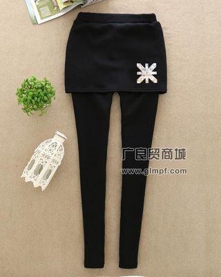 新款显瘦加厚包臀假两件裙裤批发