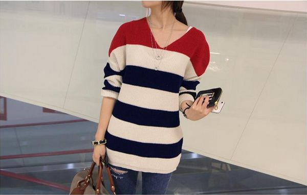 韩国修身条纹高领常规款甜美纯色毛衣批发
