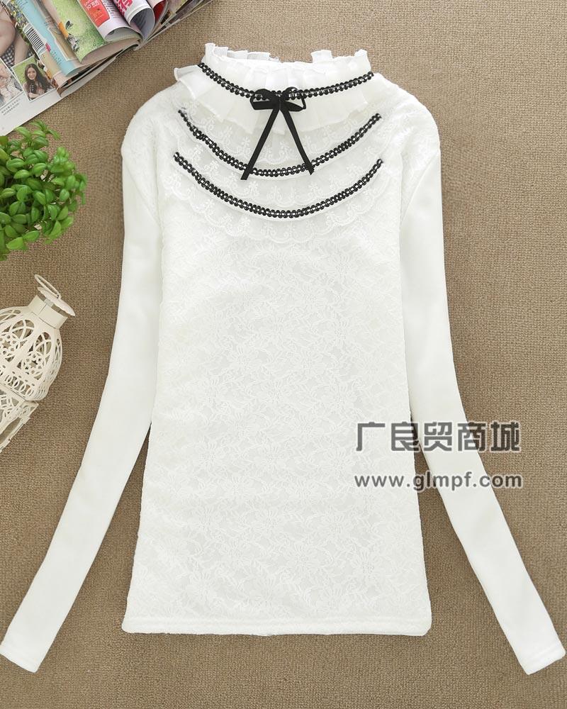 新款白色绣花加绒欧根纱不倒绒打底衫批发