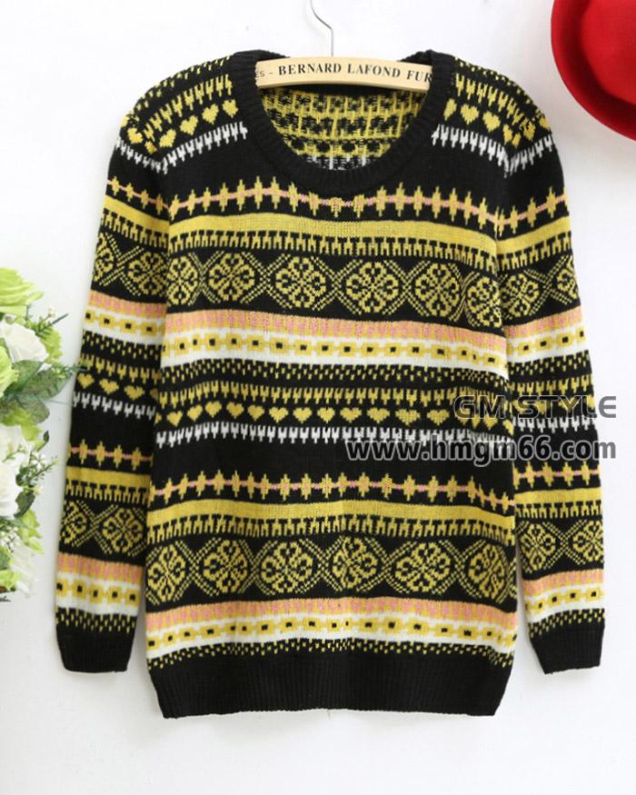 韩版印花套头新款冬季毛衣打底针织毛衫批发