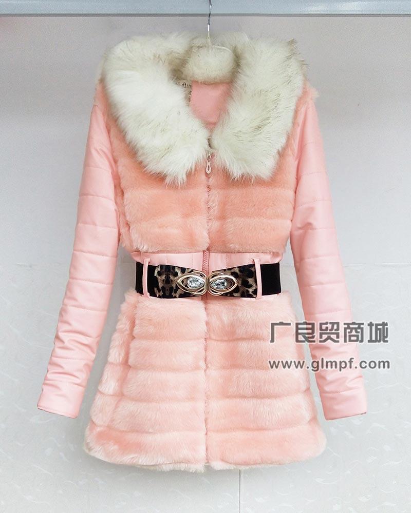 中长款皮款大衣淑女时尚毛领大衣批发
