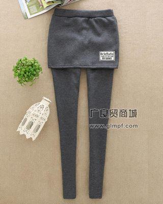 时尚韩版假两件保暖美腿裤冬季新款加厚绒女裤批发