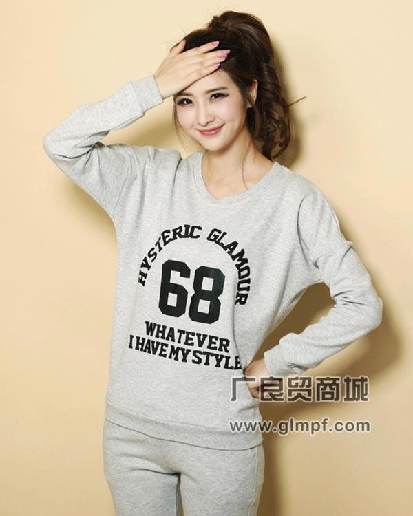 韩版女式圆领时尚卫衣冬季学生装圆领卫衣批发