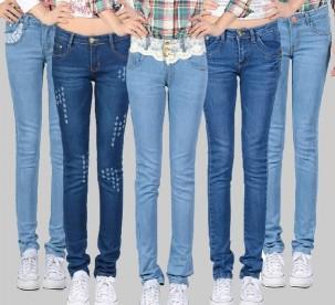 中腰显瘦韩版小脚牛仔裤便宜批发