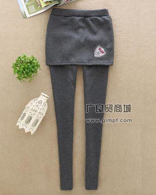 韩版假两件保暖美腿裤冬季新款加厚绒女裤保暖裙裤批发