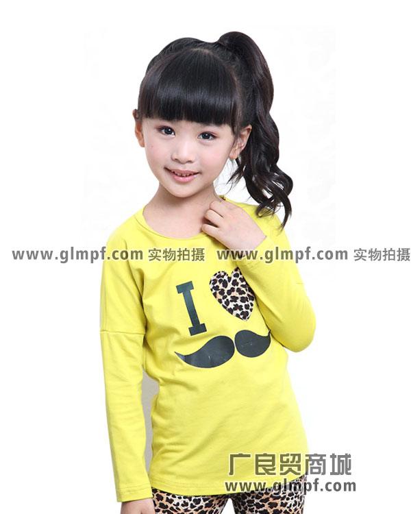 韩版儿童T恤纯棉圆领绣花卫衣批发