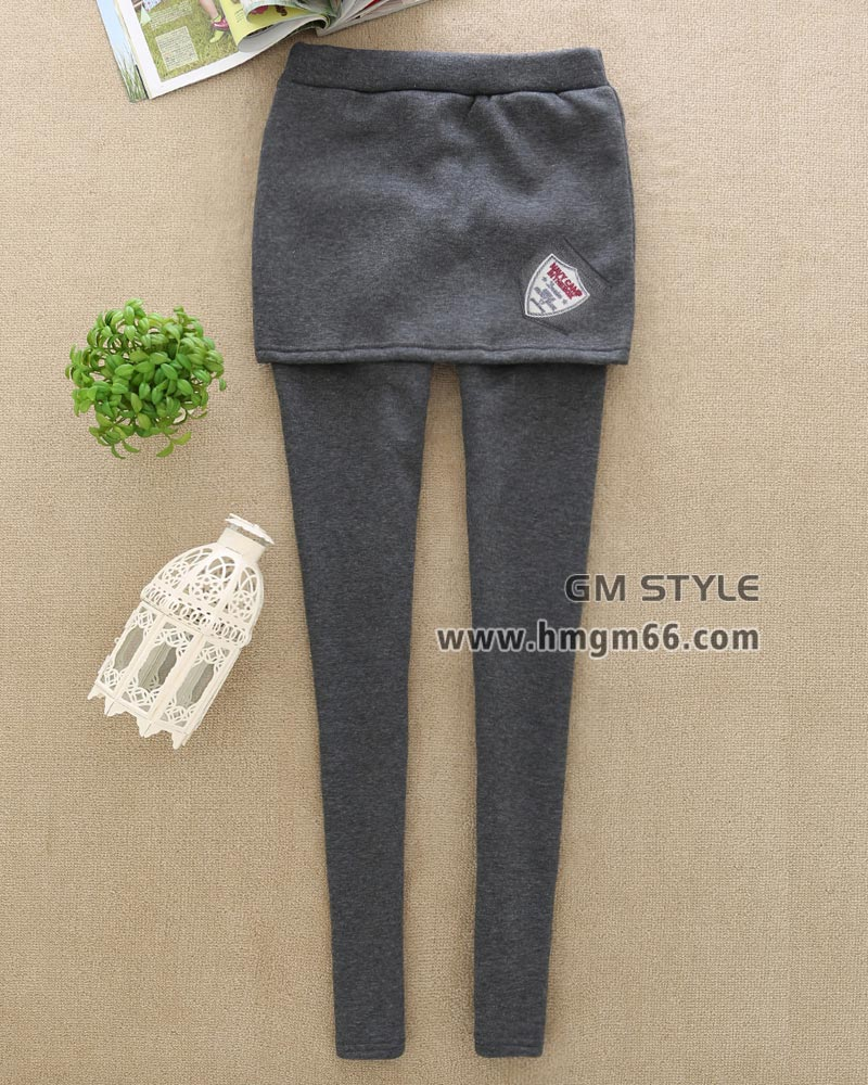 新款塑身加绒加厚假两件打底裤裙裤批发
