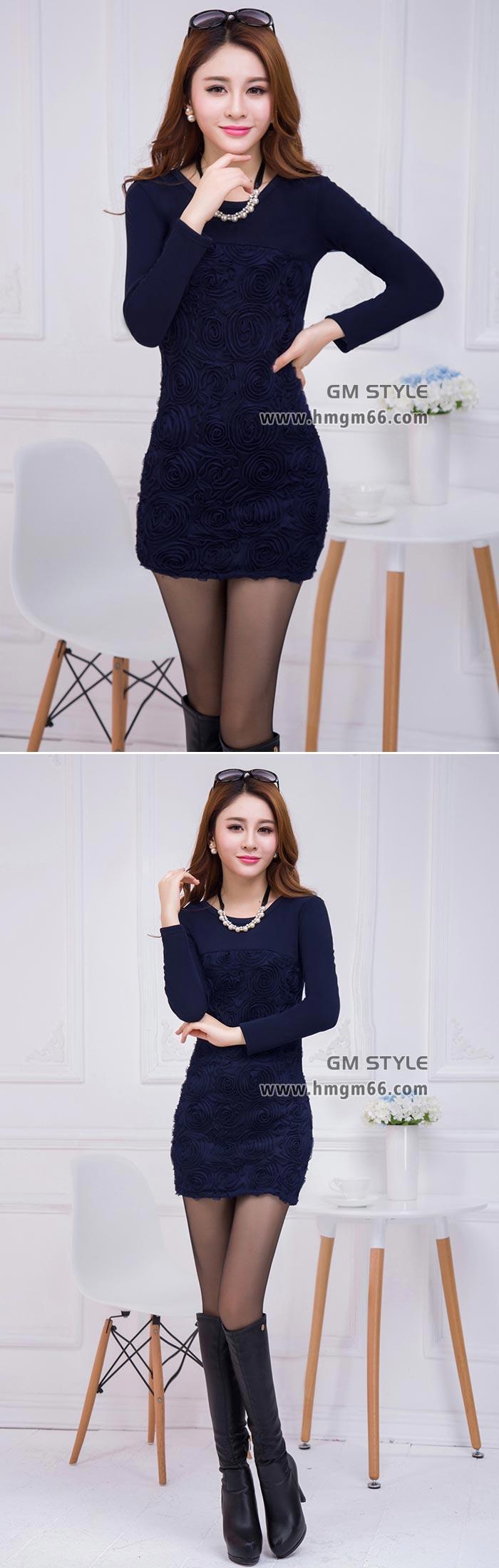 冬季新款女装韩版修身不倒绒加厚中长款打底裙女装包臀打底上衣批发
