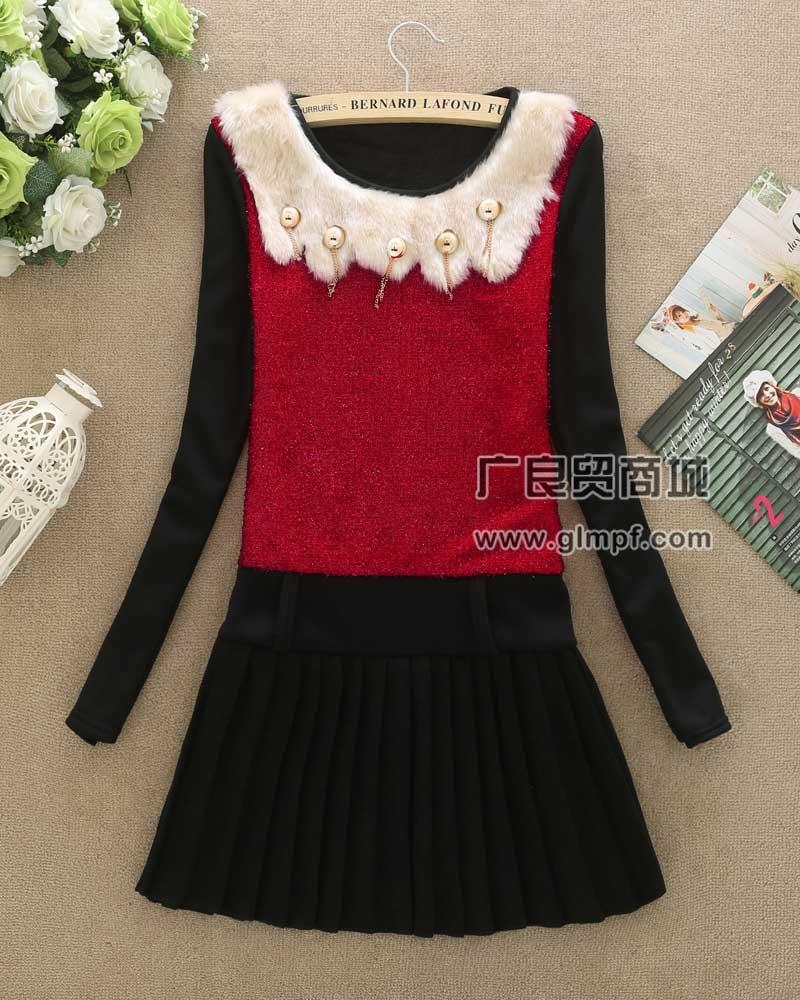 女装韩版修身不倒绒加厚中长款打底裙女装包臀打底上衣批发