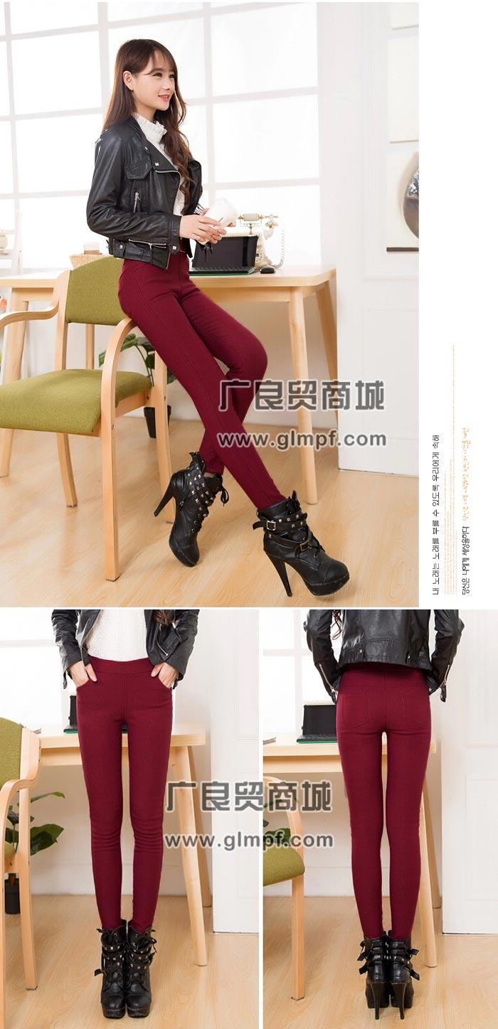 加厚保暖小脚裤带兜时尚加绒铅笔裤冬季保暖长裤批发