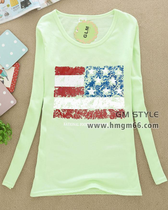 女装全棉T恤衫长袖韩版印花T恤广东学生装长袖T恤批发