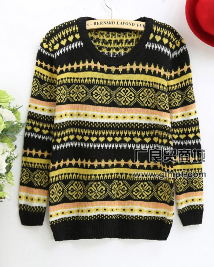 韩版印花套头新款春季毛衣打底针织毛衫批发市场