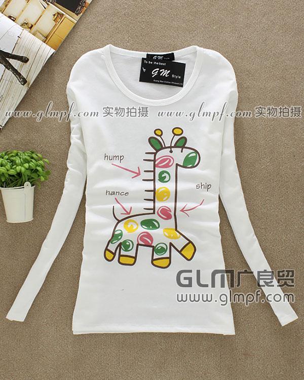 春季白色长袖T恤弹力棉白色长袖小衫批发