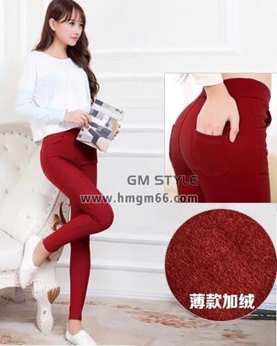 女性高腰塑身时尚韩版带兜彩色铅笔裤批发