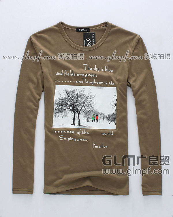 韩版男士印花T恤衫2014春季男装长袖小衫批发