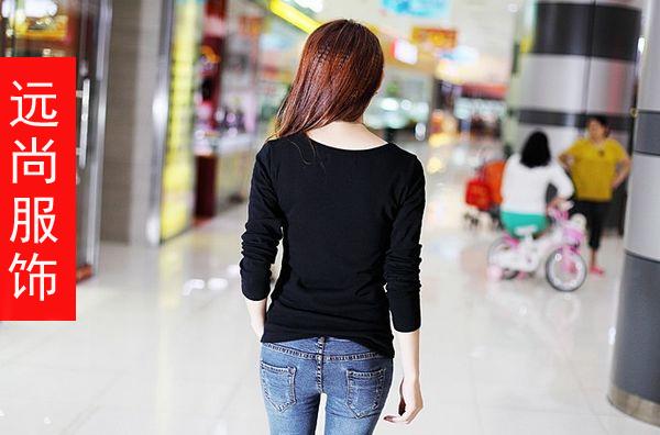 女装新款中袖纯棉百搭T恤卡通绣花撞色纯棉长袖T恤批发
