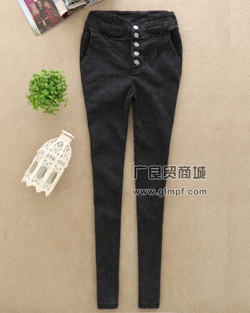 女生时尚韩版带兜彩色铅笔裤女性高腰塑身铅笔裤批发