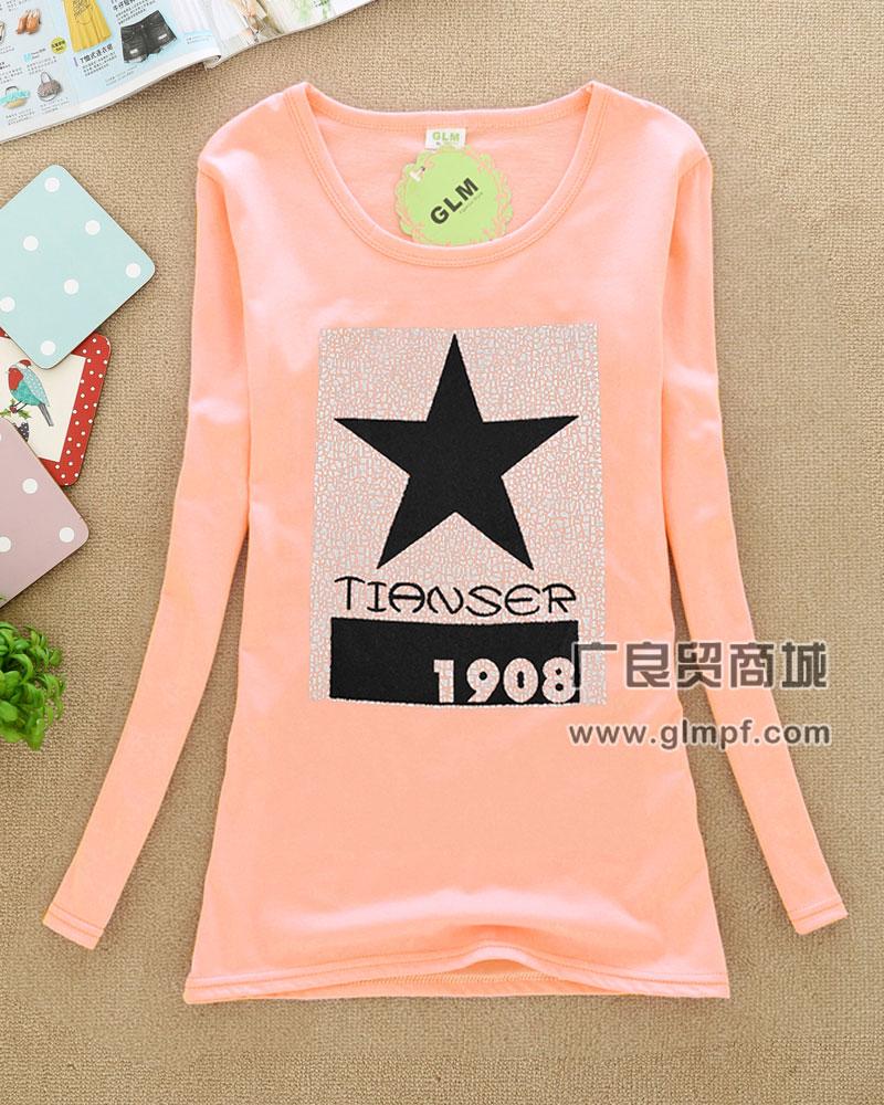 厂家直销批发长袖时尚春季韩版女装T恤