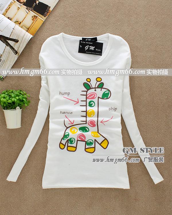 时尚春季女装韩版长袖T恤衫批发