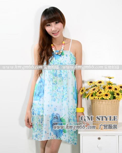 冰丝吊带连衣裙韩版连衣裙时尚吊带批发