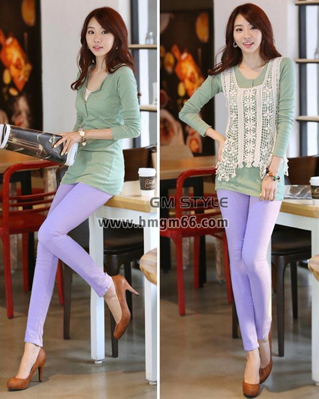 女士时尚韩版带兜铅笔裤彩色铅笔裤批发