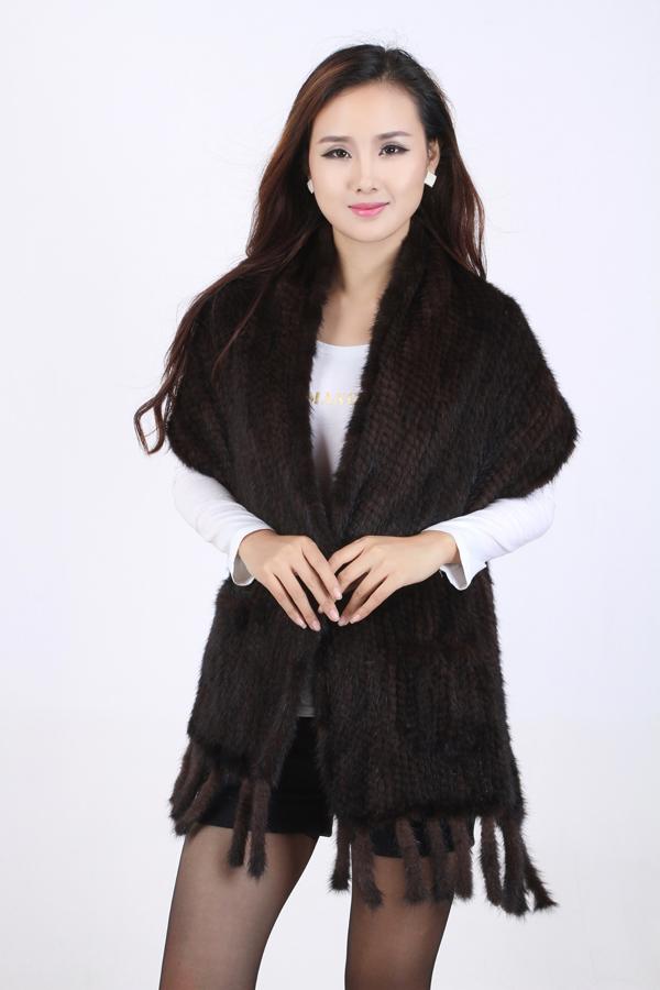 冬季女式水貂围巾流苏单色中长款围脖保暖围巾批发