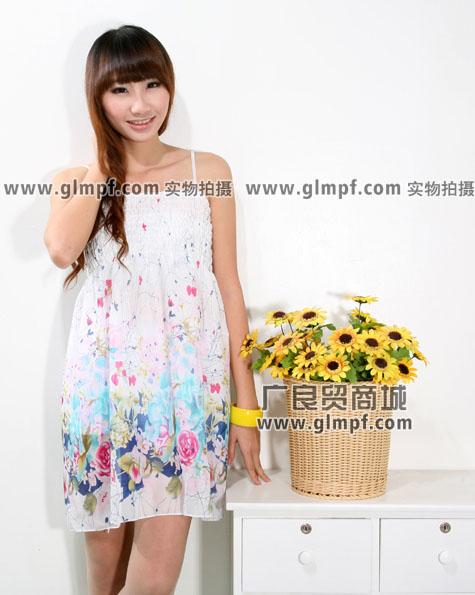 韩版雪纺裙甜美超短裙批发