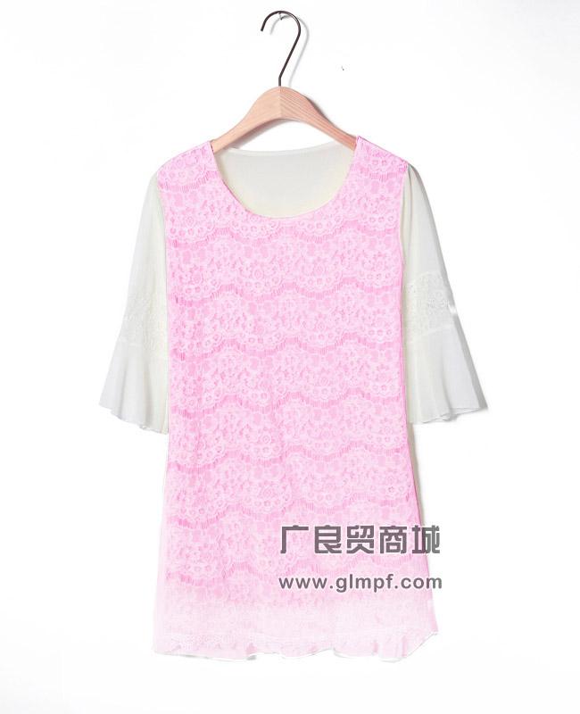 蕾丝雪纺七分袖宽版连衣裙批发