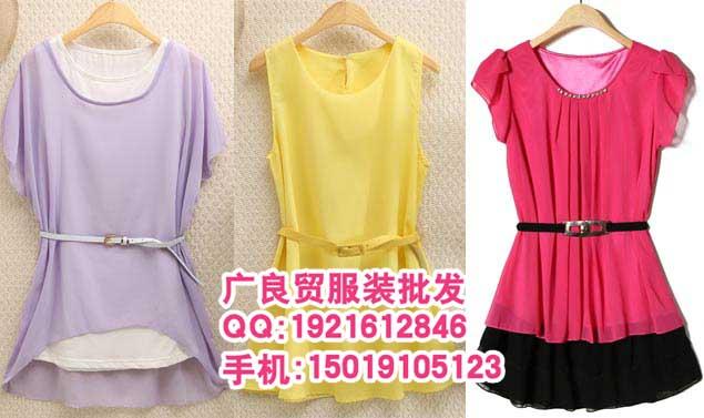 广州新款两件套宽松大版雪纺上衣批发