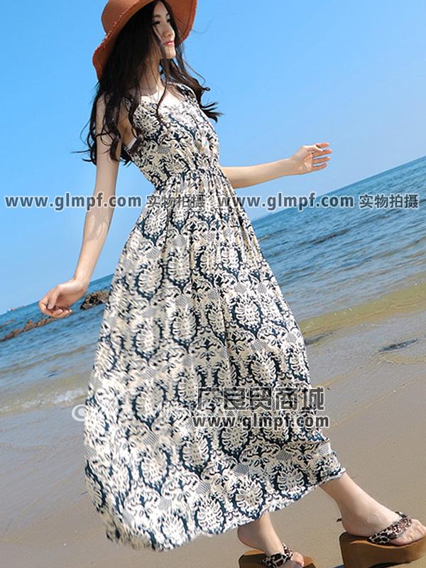 福建新款知性优雅抽象印花棉质长裙批发