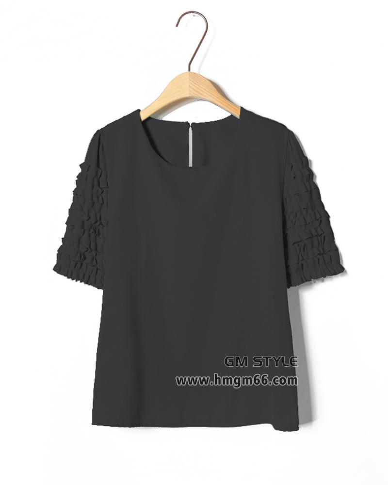 韩版短款清新剪花压褶袖雪纺衫批发