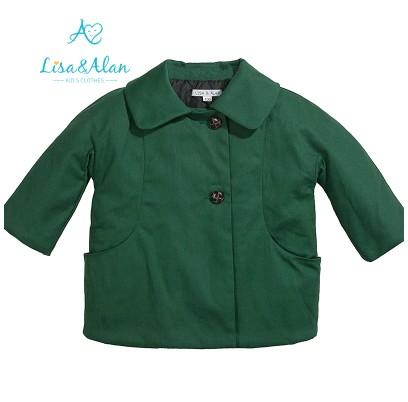 超低价韩版女童军绿色外套批发