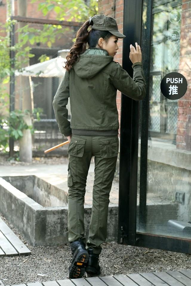 军绿色女式新品修身棉袄批发