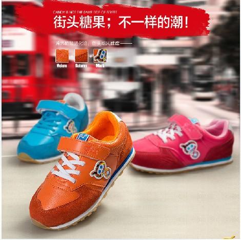 一流的反绒皮男女儿童运动鞋防滑透气童鞋供应