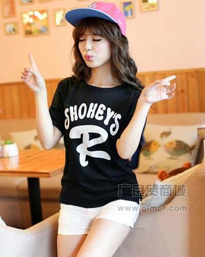 韩版短袖学院风时尚休闲上衣T恤批发