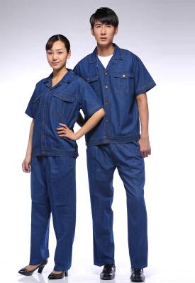 2015年夏季短袖纯棉牛仔工作服定做
