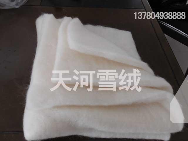 上等服装专用羊绒絮片天河绒毛制品公司供应