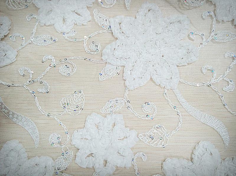 供应优质网布珠片绳绣面料