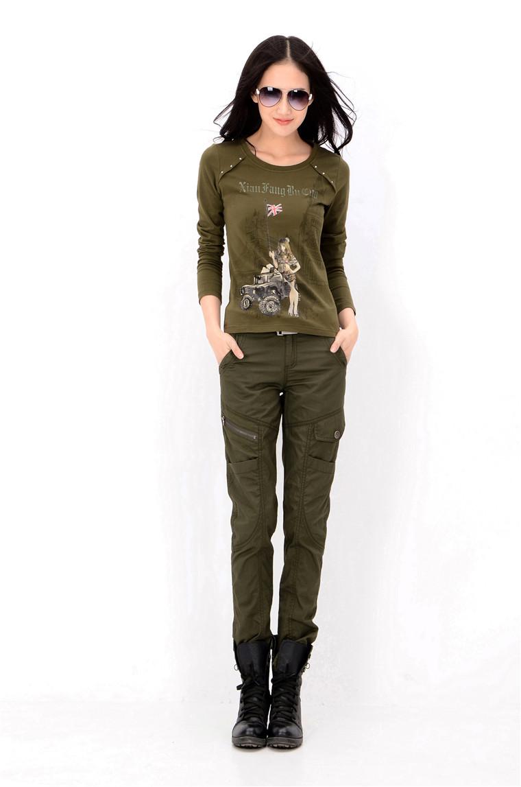 军绿修身显瘦户外女长裤批发