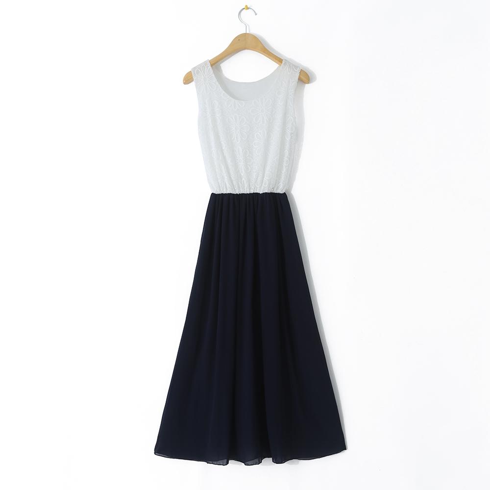 女装夏季蕾丝拼接雪纺长裙批发