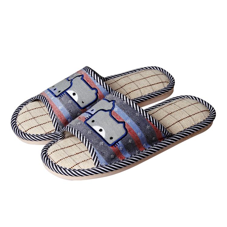 廠家現貨直銷兩只小熊卡通亞麻拖鞋
