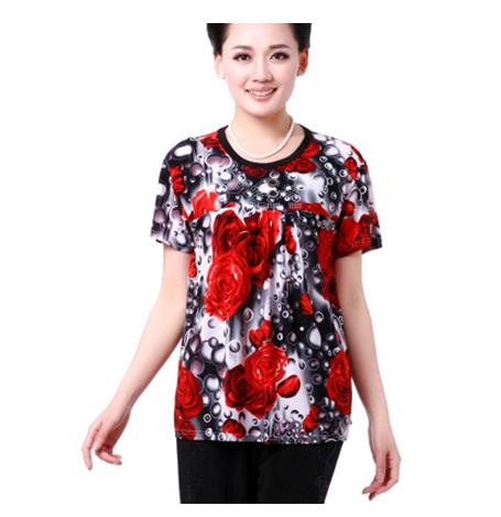 广州厂家直销大码时尚妈妈装T恤批发