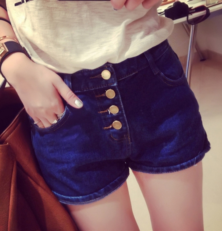 夏季新款女修身牛仔短裤批发