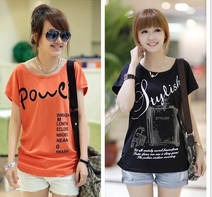 韩版时尚圆领套头女装短袖T恤厂家直销