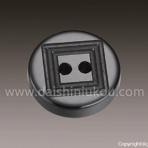 陶瓷纽扣圆形黑色双线孔刻槽百搭纽扣批发