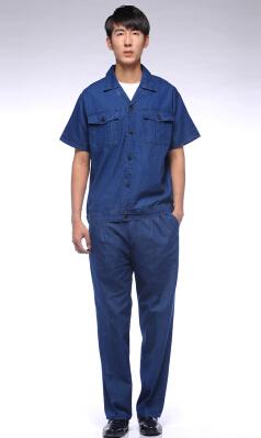 夏季纯棉牛仔工装汽修服套装特价定制