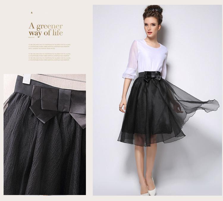 供应2015夏季时尚新款欧根纱半身中长裙批发