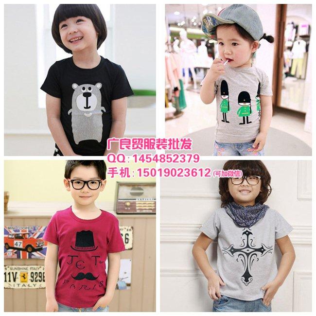 热销韩版儿童印花T恤衫批发